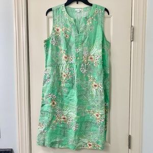 J. Jill Love Linen Green Floral Shift Dress Medium